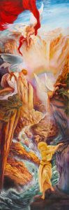 Angels Guide Woman through Danger Rubens Carravagio Parrish Pastiche Painting