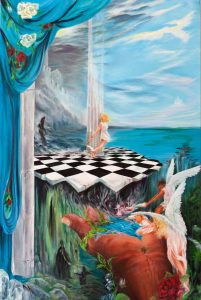 Angels Fight Nightmare Demons in Surreal Fear Castle Dream Painting