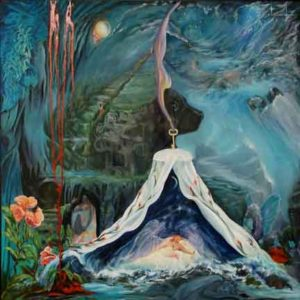 Cupids Arrow Shot Woman in Surreal Spiritual Dreamscape Painting