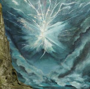 Fluxion Energy Spirit of Lightening Dances over Waves Painting