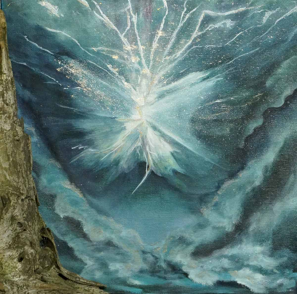Fluxion Energy Spirit of Lightening Dances over Waves Painting