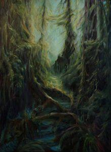 Family Tree Ancestors Inhabit Roots and Branches of Forest Painting