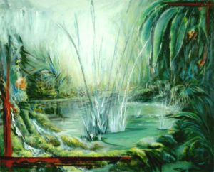 Water Fountains Spray Tropical Jungle River Fluxion Painting