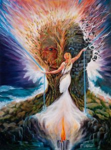 Surreal Man Embraces Fire Water Woman Creating Energy Sparks Painting