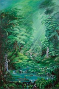 Peaceful Forest Meditation Enlightenment Painting with Women Ferns and Pond