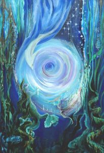 Mermaid Dolphin Fantasy Portal Painting with Neptunes Trident and Treasures