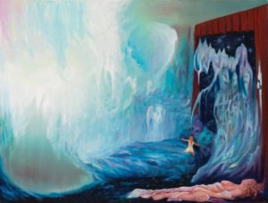 Angel Realm Hears Woman Childs Nightmare Fears in Metaphysical Painting
