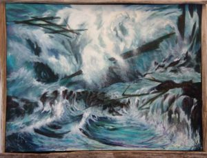 Ocean Waves Crashing Rocky Shore Storm Paintings