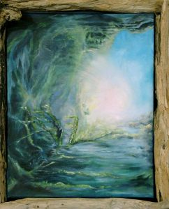 Saint Prays in Seaside Cave Sunlight Spiritual Painting