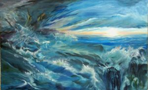Sea Serpents and Ocean Waves in Surreal Fluxion Painting